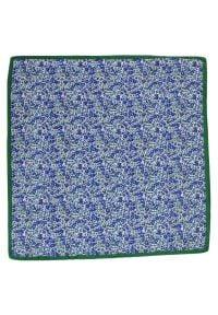 Chattier - Stylowa Poszetka Męska CHATTIER w Drobne Kwiatki, Motyw Florystyczny, Niebiesko-Biała. Kolor: niebieski. Wzór: kwiaty