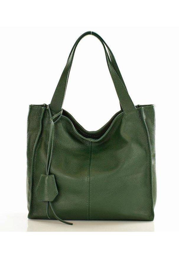 GENUINE LEATHER - Modny skórzany shopper MAZZINI - Portofino Max zielony. Kolor: zielony. Materiał: skórzane