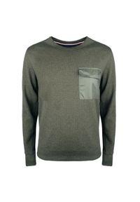 Sweter TOMMY HILFIGER na co dzień, casualowy, z aplikacjami, z okrągłym kołnierzem