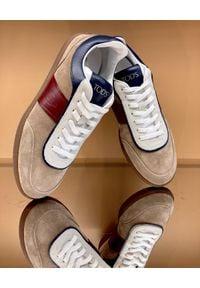 TOD'S - Beżowe sneakersy z zamszu. Okazja: na co dzień. Kolor: beżowy. Materiał: zamsz. Wzór: gładki. Obcas: na płaskiej podeszwie