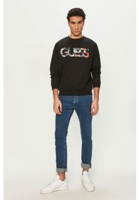 Czarna bluza nierozpinana Guess z nadrukiem, casualowa, na co dzień