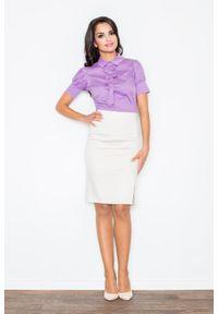Fioletowa bluzka Figl z kokardą, elegancka
