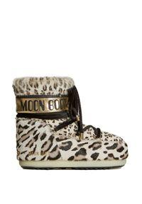 Beżowe buty zimowe Moon Boot z cholewką, z motywem zwierzęcym