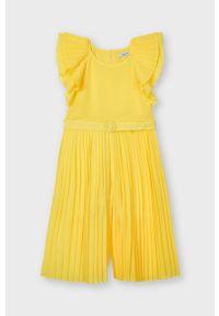 Żółty kombinezon Mayoral z krótkim rękawem, krótki, gładki