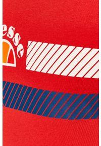 Czerwony t-shirt Ellesse z nadrukiem, casualowy
