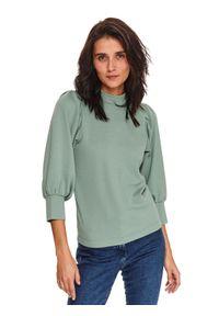 TOP SECRET - Bluza z bufiastymi rękawami. Typ kołnierza: kołnierzyk stójkowy, golf. Kolor: zielony. Materiał: materiał. Sezon: zima