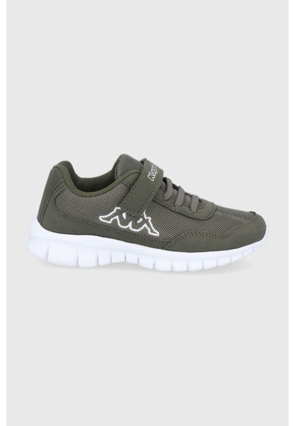 Kappa - Buty dziecięce Follow. Nosek buta: okrągły. Zapięcie: rzepy. Kolor: zielony. Materiał: materiał, syntetyk. Szerokość cholewki: normalna