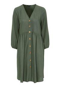 Happy Holly Dłuższa tunika Karen khaki female zielony 36/38. Typ kołnierza: dekolt w serek. Kolor: zielony. Materiał: tkanina, wiskoza