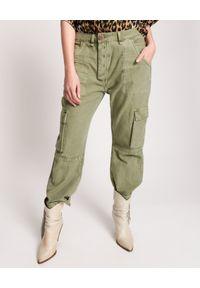ONETEASPOON - Zielone spodnie Revolution Cargo Low Waist. Stan: obniżony. Kolor: zielony. Materiał: tkanina. Wzór: aplikacja