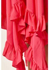 Różowa sukienka TwinSet asymetryczna, midi, z asymetrycznym kołnierzem #6