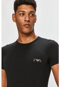 Czarny t-shirt Emporio Armani na co dzień, z aplikacjami, casualowy