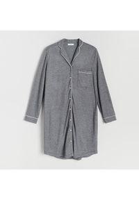 Reserved - Koszula nocna z kołnierzykiem - Czarny. Kolor: czarny