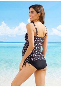 Czarny strój kąpielowy bonprix z wyjmowanymi miseczkami, moda ciążowa, z nadrukiem