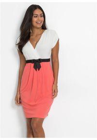 Sukienka z dżerseju bonprix ecru-koralowy. Typ kołnierza: kokarda. Kolor: biały. Materiał: jersey