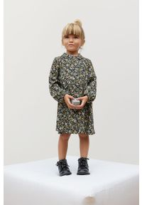 Czarna sukienka Mango Kids prosta, w kwiaty, z długim rękawem, mini