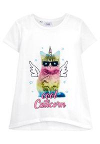 T-shirt dziewczęcy z fotodrukiem bonprix biel wełny. Kolor: biały. Materiał: wełna
