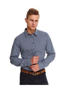 TOP SECRET - Koszula w kratę dopasowana. Okazja: na co dzień. Kolor: niebieski. Długość: długie. Wzór: kratka. Sezon: zima. Styl: elegancki, casual