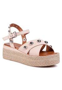 Różowe sandały Inuovo z aplikacjami, casualowe