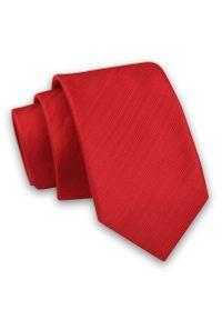 Czerwony Elegancki Męski Krawat -Angelo di Monti- 6 cm, w Tłoczony Wzór w Paski, Jednokolorowy. Kolor: czerwony. Materiał: tkanina. Wzór: prążki, paski. Styl: elegancki