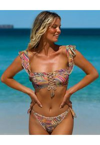 DEL MAAR - Top od bikini Hakana. Kolor: beżowy. Materiał: jeans