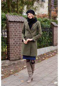 Marie Zélie - Płaszcz wełniany Debora ciemnozielony. Kolor: zielony. Materiał: wełna. Wzór: motyw zwierzęcy, ze splotem. Sezon: zima. Styl: klasyczny #7