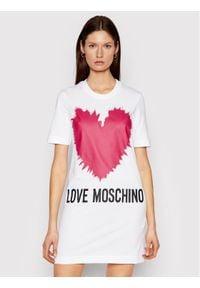 Love Moschino - LOVE MOSCHINO Sukienka codzienna W5A0221M 3876 Biały Regular Fit. Okazja: na co dzień. Kolor: biały. Typ sukienki: proste. Styl: casual