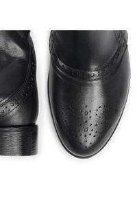 Czarne botki sagan na obcasie, z cholewką, na średnim obcasie