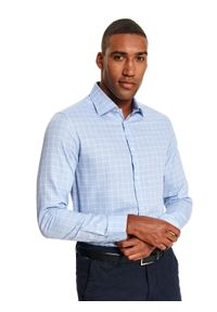 Niebieska koszula TOP SECRET casualowa, w kratkę