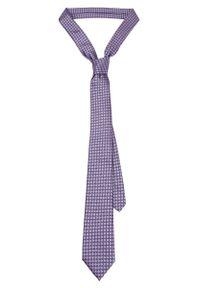Fioletowy krawat Lancerto klasyczny, w geometryczne wzory