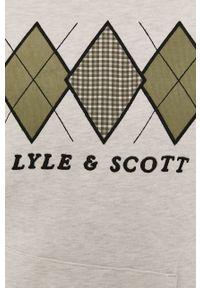 Kremowa bluza nierozpinana Lyle & Scott casualowa, z kapturem, z aplikacjami, na co dzień