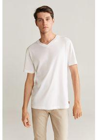 Biały t-shirt Mango Man casualowy, na co dzień