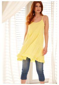 Top na cienkich ramiączkach z falbanami bonprix jasna limonka. Kolor: żółty. Długość rękawa: na ramiączkach. Długość: długie