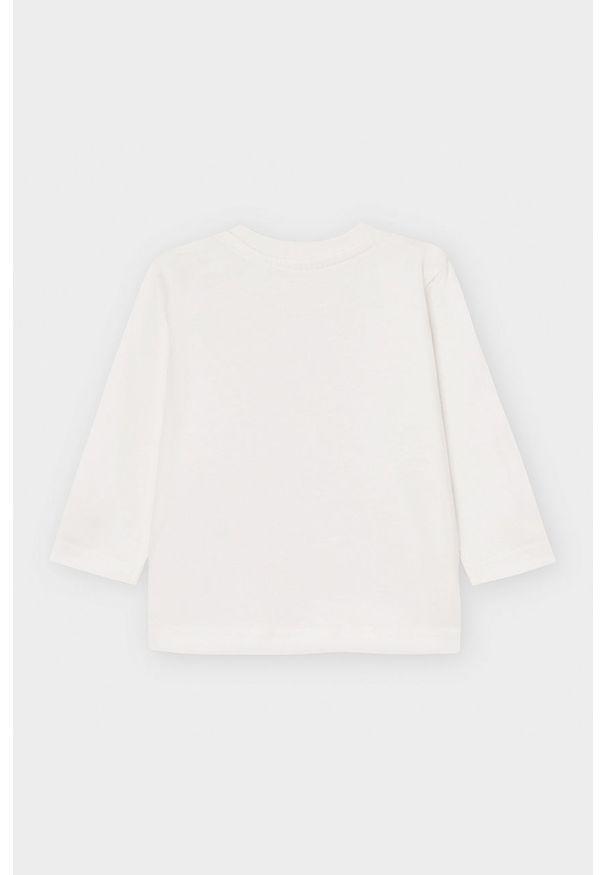 Biała koszulka z długim rękawem Mayoral z nadrukiem, z okrągłym kołnierzem