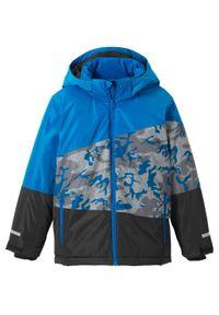 Kurtka chłopięca narciarska nieprzemakalna i wiatroszczelna bonprix niebiesko-czarny moro. Kolor: niebieski. Materiał: materiał, poliester. Wzór: moro. Sezon: zima