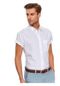 Biała koszula TOP SECRET na co dzień, w kolorowe wzory, z krótkim rękawem, casualowa