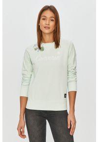 Zielona bluza Converse z nadrukiem, długa, casualowa, bez kaptura