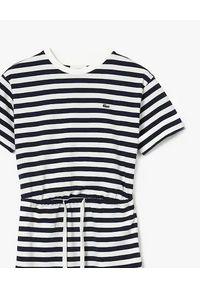 Lacoste - LACOSTE - Dwukolorowa sukienka midi w paski. Kolor: biały. Materiał: materiał. Wzór: paski. Sezon: lato. Długość: midi