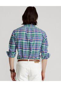 Ralph Lauren - RALPH LAUREN - Koszula w kratę Oxford Custom Fit. Typ kołnierza: button down, polo. Kolor: zielony. Długość rękawa: długi rękaw. Długość: długie. Wzór: kolorowy