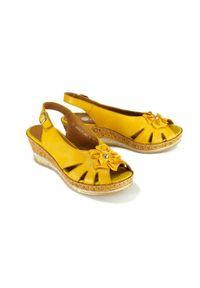 Żółte sandały Rieker Remonte na rzepy