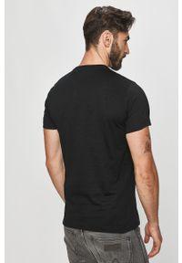 Czarny t-shirt Diesel casualowy, z nadrukiem, na co dzień