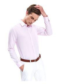 Różowa koszula TOP SECRET w kolorowe wzory, elegancka