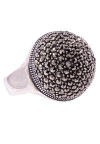 Braccatta - GAJA Srebrny Pierścionek z markazytami, duży. Materiał: srebrne. Kolor: srebrny. Kamień szlachetny: markazyt