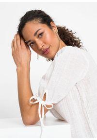 Biała bluzka bonprix z krótkim rękawem, z kokardą