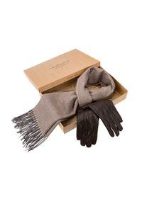 Lancerto - Zestaw Szal Plus Rękawiczki. Kolor: brązowy. Materiał: dzianina, skóra. Styl: klasyczny, elegancki