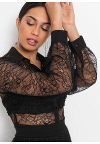 Sukienka z siatkową wstawką bonprix czarny. Kolor: czarny. Materiał: koronka. Wzór: koronka