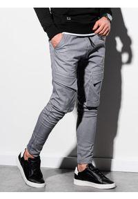 Ombre Clothing - Spodnie męskie joggery P999 - szare - XXL. Kolor: szary. Materiał: elastan, bawełna. Wzór: aplikacja