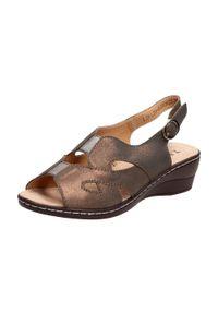 Brązowe sandały Sokolski na koturnie, klasyczne