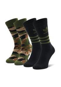 Adidas - Zestaw 2 par wysokich skarpet unisex adidas - Camo Crew Sock GN3092 Wilpin/Black. Kolor: czarny, zielony, wielokolorowy. Materiał: elastan, poliester, poliamid, materiał, bawełna