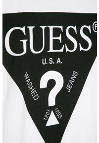 Czarny t-shirt Guess Jeans casualowy, z nadrukiem, na co dzień
