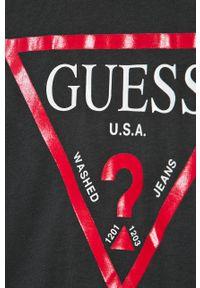 Czarny t-shirt Guess Jeans na co dzień, z okrągłym kołnierzem
